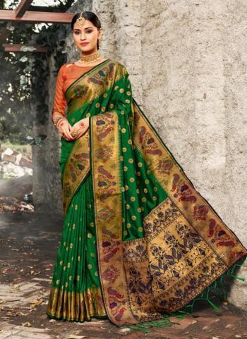 Green Silk Weaving Festival Wear Saree