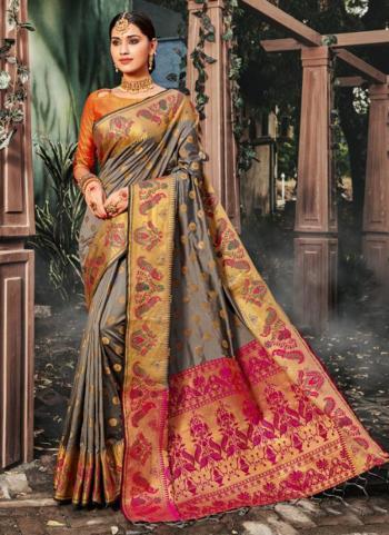 Grey Silk Weaving Festival Wear Saree