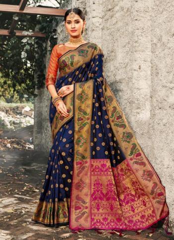 Navy Blue Silk Weaving Festival Wear Saree