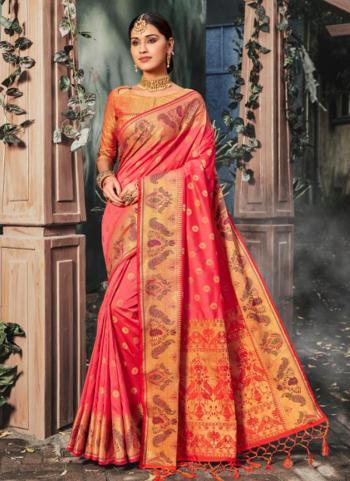 Pink Silk Weaving Festival Wear Saree