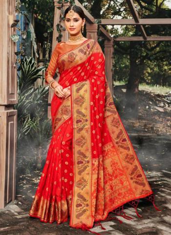 Red Silk Weaving Festival Wear Saree