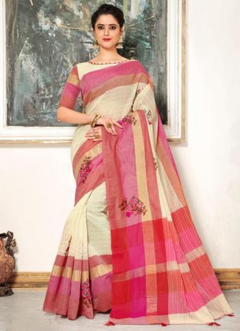 Cream Cotton Silk Embroidery Work Casual Wear Saree