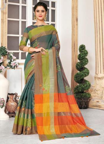 Green Cotton Silk Embroidery Work Casual Wear Saree