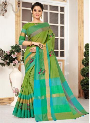 Light Green Cotton Silk Embroidery Work Casual Wear Saree