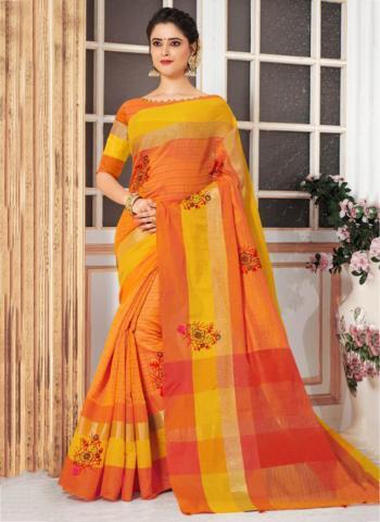 Orange Cotton Silk Embroidery Work Casual Wear Saree