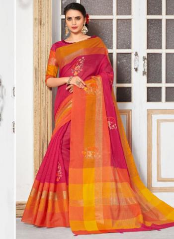 Pink Cotton Silk Embroidery Work Casual Wear Saree