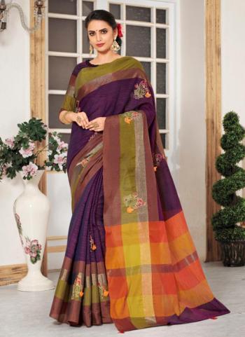 Purple Cotton Silk Embroidery Work Casual Wear Saree