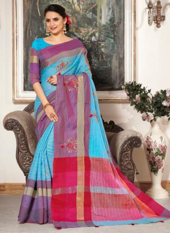 Sky Blue Cotton Silk Embroidery Work Casual Wear Saree