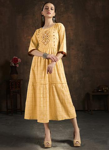 Yellow Pure Cotton Casual Wear Hand Embroidery Work Kurti