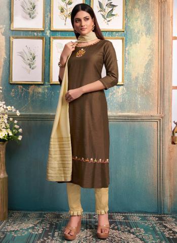 Brown Slub Casual Wear Embroidery Work Kurti With Dupatta