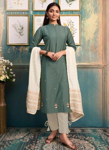 Green Silk Casual Wear Embroidery Work Kurti With Dupatta