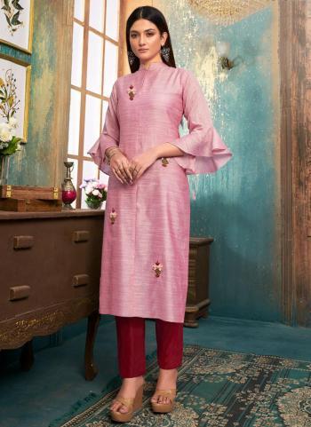 Light Pink Slub Casual Wear Embroidery Work Kurti With Pant