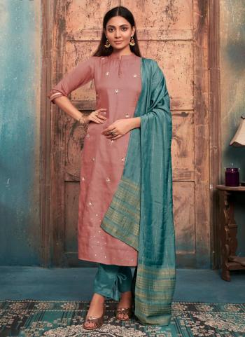 Pink Tussar Satin Casual Wear Embroidery Work Kurti With Dupatta