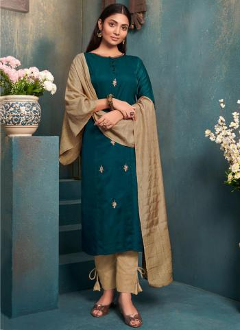Rama Green Silk Casual Wear Embroidery Work Kurti With Dupatta