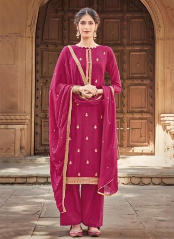Rani Silk Cotton Festival Wear Embroidery Work Palazzo Suit