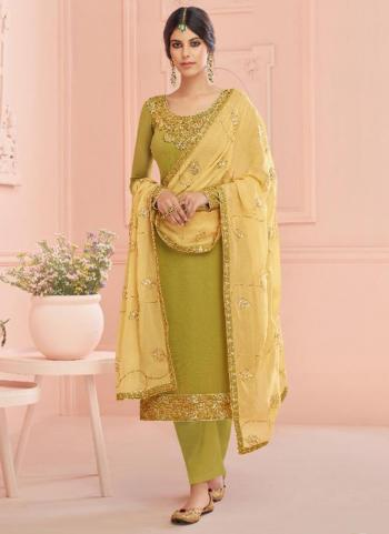 Light Green Real Georgette Traditional Wear Embroidery Work Churidar Suit