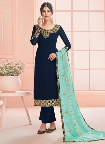 Navy Blue Real Georgette Traditional Wear Embroidery Work Churidar Suit