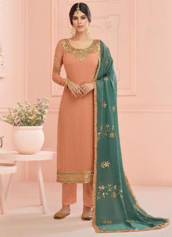 Peach Real Georgette Traditional Wear Embroidery Work Churidar Suit