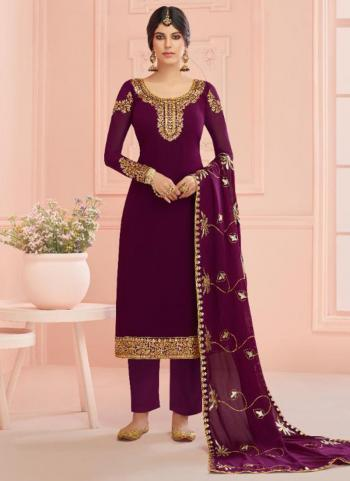 Purple Real Georgette Traditional Wear Embroidery Work Churidar Suit