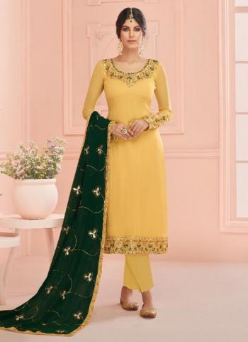 Yellow Real Georgette Traditional Wear Embroidery Work Churidar Suit
