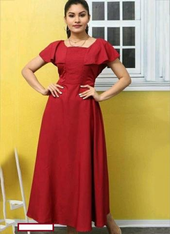 Red Crepe Casual Wear Embellished Long Kurti