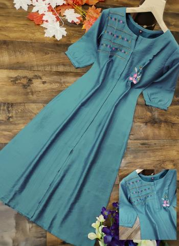 Blue Cotton Silk Regular Wear Embroidery Work Kurti