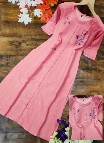 Light Pink Cotton Silk Regular Wear Embroidery Work Kurti
