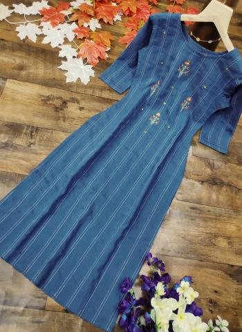 Navy Blue Cotton Silk Regular Wear Embroidery Work Kurti