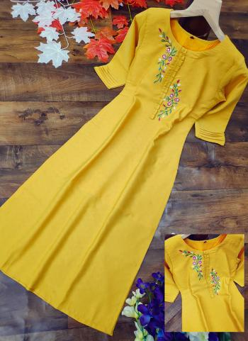Yellow Cotton Silk Regular Wear Embroidery Work Kurti