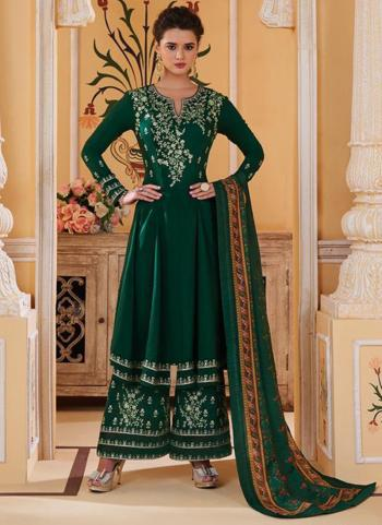 Dark Green Muslin Party Wear Embroidery Work Readymade Palazzo Suit