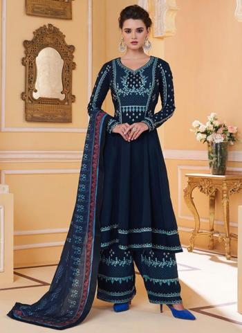 Rama Blue Pure Muslin Party Wear Embroidery Work Readymade Palazzo Suit