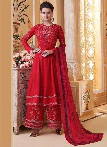 Red Pure Muslin Party Wear Embroidery Work Readymade Palazzo Suit