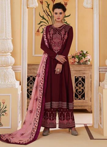 Violet Muslin Party Wear Embroidery Work Readymade Palazzo Suit