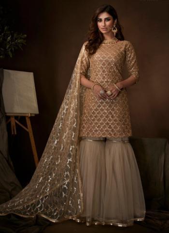 Beige Net Party Wear Sequins Work Sharara Suit