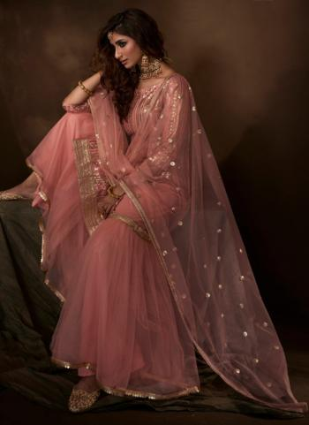 Pink Net Party Wear Sequins Work Sharara Suit