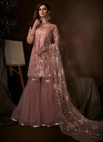 Purple Net Party Wear Sequins Work Sharara Suit