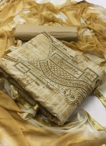 Beige Cotton Casual Wear Printed Work Unstitched Salwar Suit