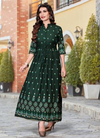 Dark Green Heavy Rayon Casual Wear Foil Printed Work Long Kurti