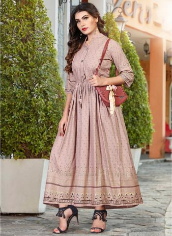 Light Pink Rayon Casual Wear Foil Printed Work Long Kurti