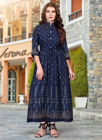 Navy Blue Heavy Rayon Casual Wear Foil Printed Work Long Kurti
