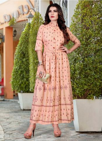 Peach Heavy Rayon Casual Wear Foil Printed Work Long Kurti
