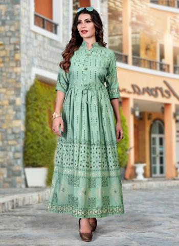 Pista Green Heavy Rayon Casual Wear Foil Printed Work Long Kurti