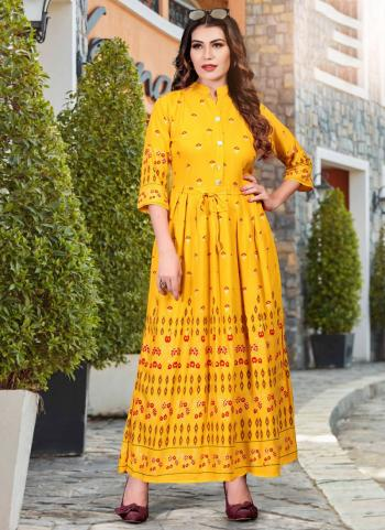Yellow Heavy Rayon Casual Wear Foil Printed Work Long Kurti