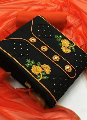 Orange Indo Cotton Casual Wear Embroidery Work Salwar Suit