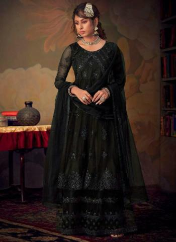 Black Net Bridal Wear Embroidery Work Sharara Suit