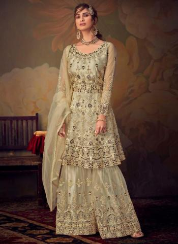 Cream Net Bridal Wear Embroidery Work Sharara Suit