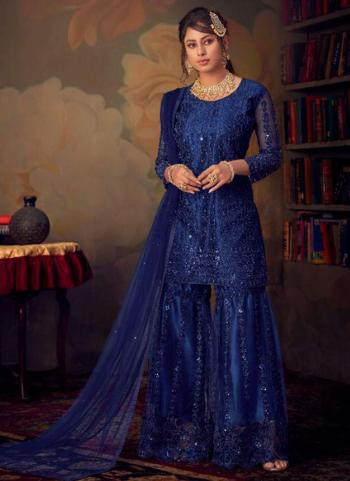 Navy Blue Net Bridal Wear Embroidery Work Sharara Suit