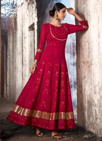 Rani Georgette Reception Wear Stone Work Anarkali Suit
