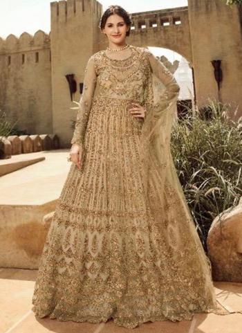 Golden Net Bridal Wear Embroidery Work A Line Suit
