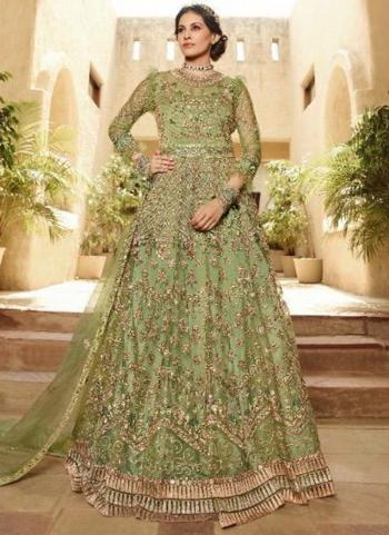 Green Net Bridal Wear Embroidery Work Sharara Suit